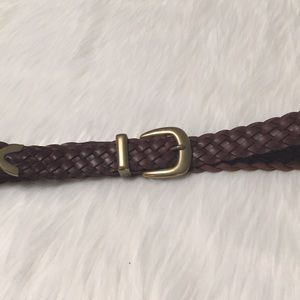 Genuine Leather brown braided belt Size 38